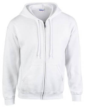 Gildan Men's Heavy Blend Full Zip Hood Sweatshirt White