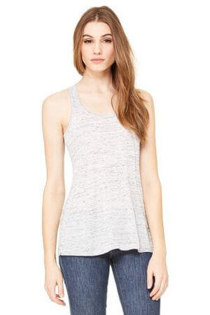 Bella+Canvas Women's Flowy Racerback Top White Marble